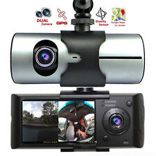 NEW Car DVR Dual Camera Lens w/ GPS Tracker - Driving Track, Speed, Time & Date