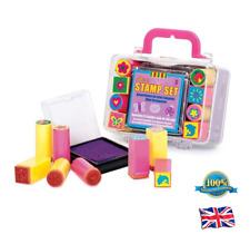 Kids Mini Stamp Set 1 INK PAD + 8 STAMPS Preschool Toddler Art Craft Storage Kit