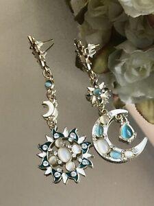 Gold Star Sun God & Moon Crystal Rhinestone Stud Dangle Earrings Bling