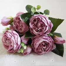 9 Heads Silk Rose Artificial Flowers Fake Bouquet Buch Wedding Home Party Decor
