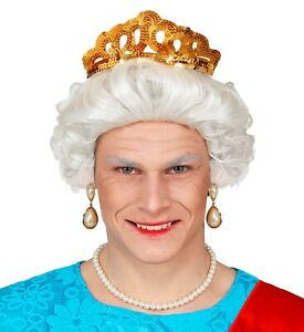 Queen Elizabeth Kurzhaar-Perücke Grau Oma Lehrerin Omi Alte Frau Großmutter