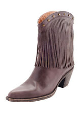 Brown Leather Tassel Cowboy Heeled Boot, Size 7.5, Brown Leather Cowboy Boots,