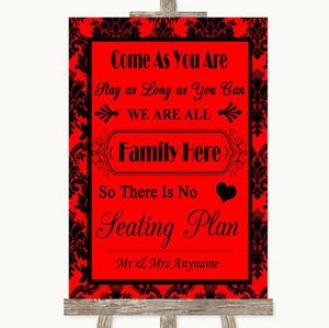 Wedding Sign Poster Print Red Damask All Family No Seating Plan