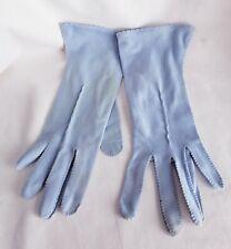 Vintage Light Blue Fabric Ladies Dress Gloves