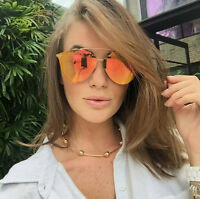 Women Mirror Sunglasses Vintage Retro Rimless Aviator Designer Style