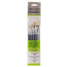 Winsor & Newton : Foundation Oil Brush Set : SH Round 3 & 6 Flat 10 & 14 Filbert