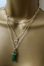 1 X CRYSTAL PENDULUM 3 STRAND NECKLACE PENDANT WITH EYE CHARM WICCA WITCH