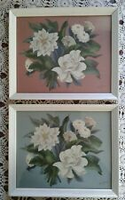 Two Sanford de Jonge Mid Century Floral Airbrush Framed Art Prints Set