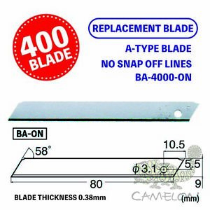 NT Cutter 9mm Solid Blades Without Snap Off Lines 400 Blade BA-4000-on Japan