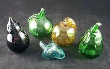 5 Vtg Retro Murano  Glass Fruit Vegetables. 2 Green, 1 Amethyst 1 Gold 1 Blue