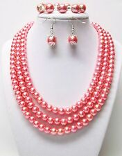 3 Strand Pink Rose Glass Pearl Necklace/Bracelet & Earrings Set (Silver Plated)