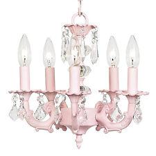 Kids Pink Crystal Chandelier Nursery Room Decor Light Fixture Lighting New Girls