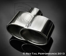 """Exhaust Muffler Tip Dual Fused Oval 7.35"""" x 3.25"""" w 2.25"""" ID Porsche style"""