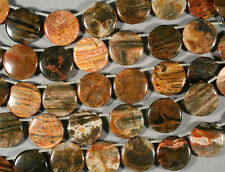 """GORGEOUS MULTICOLOR NATURAL PETRIFIED WOOD AGATE 30MM DROP COIN BEADS 15"""""""