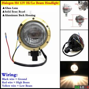 E-Mark Motorcycle Hi/Lo Beam Headlight Head Lamp Brass Bezel For Harley Davidson