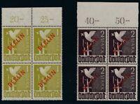 Berlin 1949 - Rotaufdruck,4er Block vom Oberrand, Nr. 21-34 geprüft, KW € 12.160