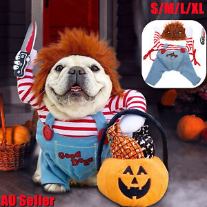 Halloween Pets Dog Cat Costume Party Chucky Cosplay Poppy Fancy Dress Jumpsuits