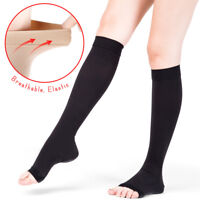 20-30mmHg Men Women Open Toe Compression Socks Knee High Support Stockings S-2XL