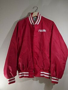 Vintage DUNBROOKE Satin Snap Button Varsity Jacket Red Sz L