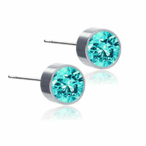6mm Crystal Stud Earrings Silver Aqua Stone Anti Allergic Stud Earrings Pair UK