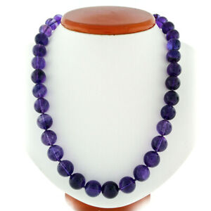 "505ctw Round Bead Amethyst 24"" Long Strand Necklace w/ 14k Gold Pearl Ruby Clasp"