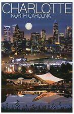 Charlotte North Carolina, Bank of America Stadium & Skyline NC - Modern Postcard