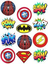 MARVEL DC SUPERHERO LOGO'S & CALLOUTS Edible Party cup cake toppers x 24