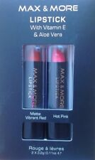 2 Natural Lipstick Vitamin E & Aloe Vera BEAUTY MAKE UP Red Pink Christmas Gifts