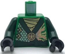 Lego New Green Minifig Torso Ninjago Lloyd Rebooted Robe Dark Green Sash Golden