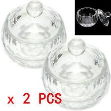 2Pcs CRYSTAL GLASS DAPPEN DISH + LID BOWL CUP NAIL ART Craft SALON Tool