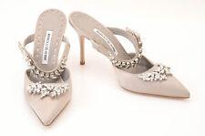 Manolo Blahnik light gray L8.5 R8 satin embellished strappy pump shoe NEW $1295