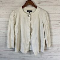 Jones New York Collection 3/4 Sleeve Cropped Cardigan Sweater M Ivory Ribbed