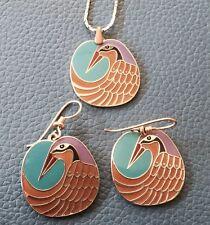 Mynah Birds Set Pendant & Dangle Hook Earrings Excellent Condition (read Desc.)