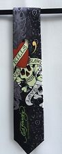 Ed Hardy Mens Tie Christian Audigier Black Skull Silk Tie New with Tag