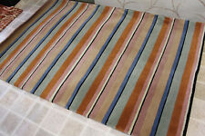 R13698 Gorgeous multi colored striped Tibetan Woolen Rug 4' X 6' Made in Nepal