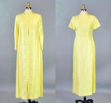 Vtg 1960s Women Yellow Dress Set Suit Long Jacket Soutache Trim Jackie O Size M