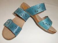 NIB Earth Origins Women's Tessa Leather Slide Sandals, Sz 7:  Shadow Blue