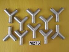 """Ten (10) 1/2""""x1/2""""x1/2"""" Y Pipe Hose Connector Diverter Aluminum Vacuum Tube"""