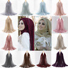 Women Ladies Scarf Gold Wire with Pearl Muslim Islamic Hijab Wraps Soft Scarves