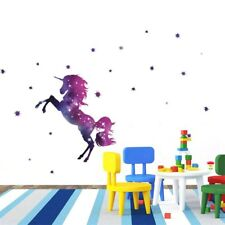 Stars Unicorn Wall Stickers Fantasy Girls Bedroom Wall Art Cute Nursary Decal 1X