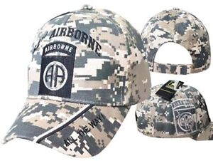 """ARMY 82ND AIRBORNE """"ALL THE WAY"""" ACU DIGITAL CAMO SHADOW CAP HAT (LICENSED)"""