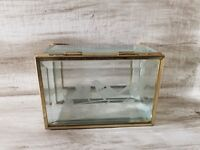 Gorgeous Vintage Etched Beveled Glass and Brass Trinket Box Bird Flowers