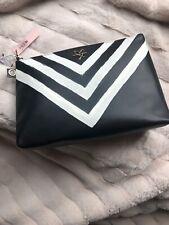 "Nwt Victoria'S Secret Black White ""V"" Stripes Large Makeup Bag"