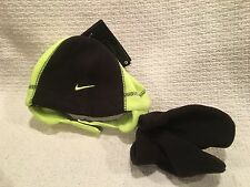 NWT Nike Fleece Hat with Chin Strap & Mittens 2 pc set -Size 12/24M Blk & Yellow