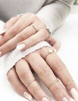 14K Solid Gold Thin Band Ring 1mm Plain Wedding Engagement Ring Dainty stackable