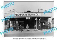 OLD LARGE PHOTO OF SANDGATE GARAGE c1928 QLD PLUME TEXACO PETROL BOWSER