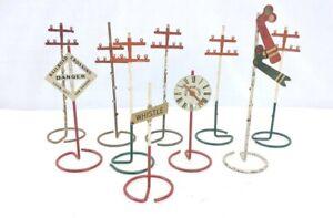 10 Prewar Metal Standard Gauge Station Clock, Semaphore, Signs & Telegraph Poles