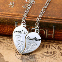 2PC/Set Mom Mother & Daughter Love Heart Pendant Chain Necklace Charm Silver New