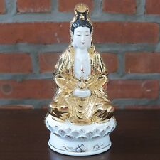 "Seated Guanyin Kwan Yin Mercy Goddess Porcelain Gold Figurine 10"" tall New"