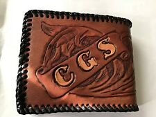 Handtooled Leather Wallet With Initials Cgs
